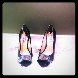 Marc Fisher Black Heels with Silver Buckle